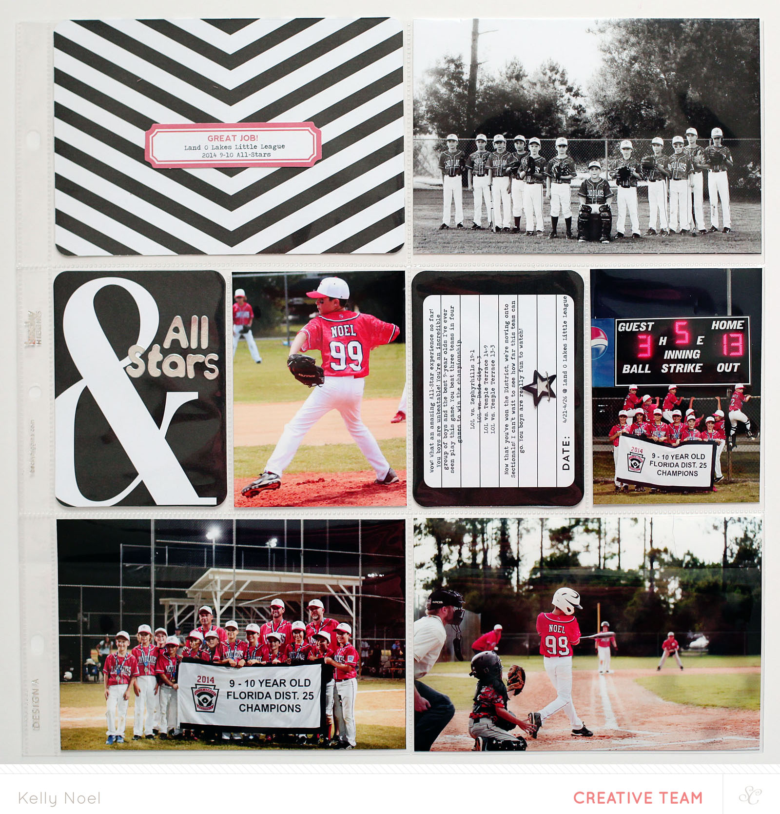 Project Life 2014 - All Stars Insert - Studio Calico Sandlot PL Kit - Kelly Noel